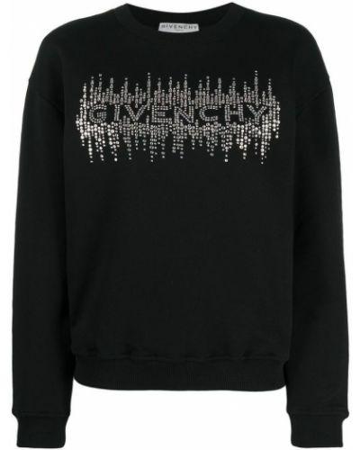 Czarny sweter bawełniany z długimi rękawami Givenchy