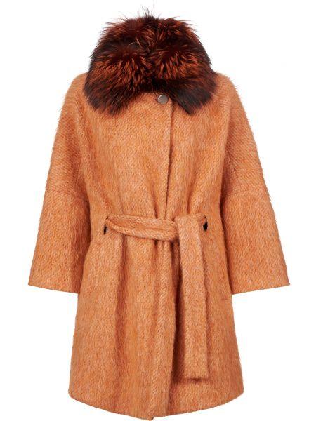Пальто из альпаки - оранжевое Diego M
