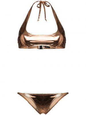 Нейлоновые бикини золотые с вырезом Lisa Marie Fernandez
