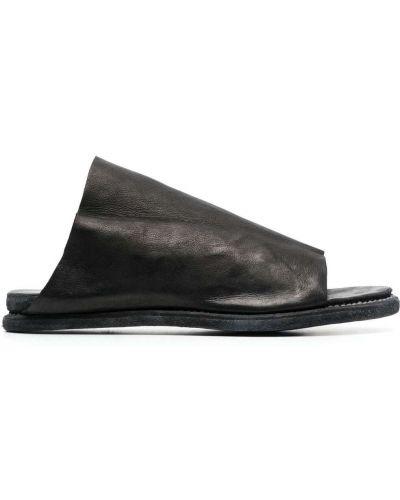 Czarne sandały skorzane peep toe Guidi