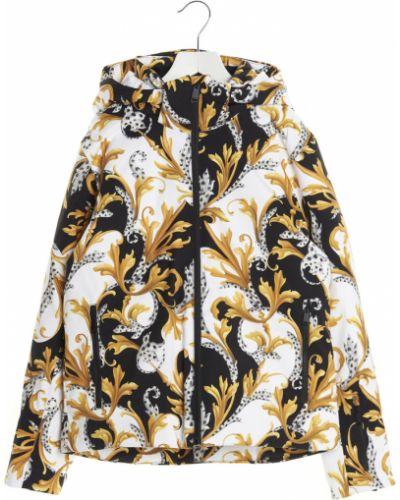 Biały długi płaszcz z kapturem oversize Versace