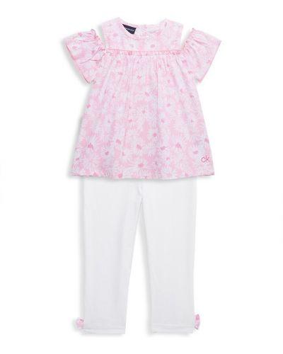 Tunika bawełniana krótki rękaw z haftem Calvin Klein