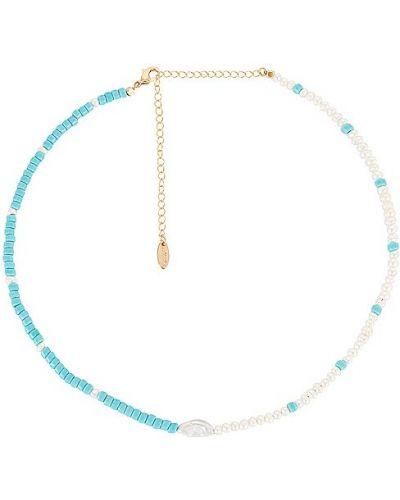 Złoty naszyjnik z pereł - niebieski Ettika