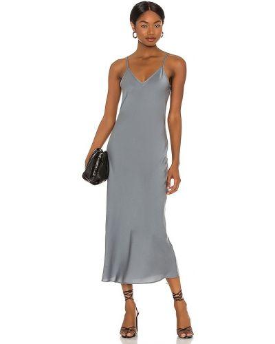 С ремешком кожаное синее платье Allsaints