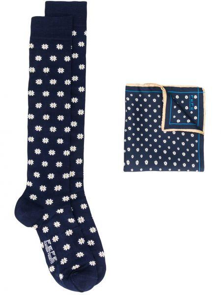 Niebieskie skarpety bawełniane z printem Fefe