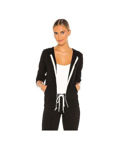 Махровый черный свитер на молнии с карманами Monrow