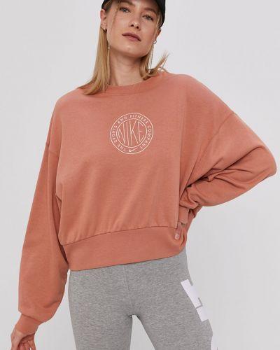 Brązowa bluza z kapturem bawełniana Nike Sportswear
