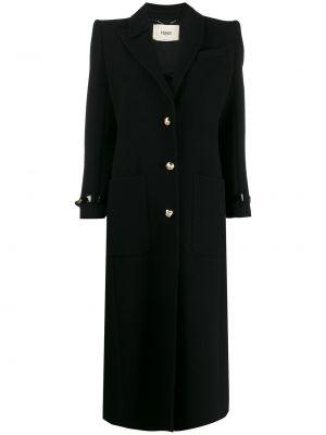 Czarny płaszcz wełniany asymetryczny Fendi
