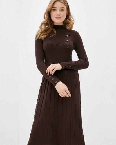 Коричневое трикотажное вязаное платье Tantra