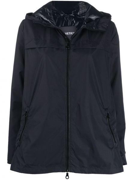 С кулиской синяя куртка с капюшоном с карманами с длинными рукавами Duvetica