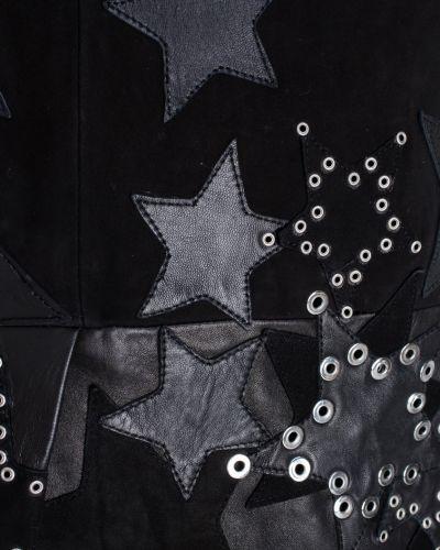 Кожаное черное платье мини с V-образным вырезом Anthony Vaccarello
