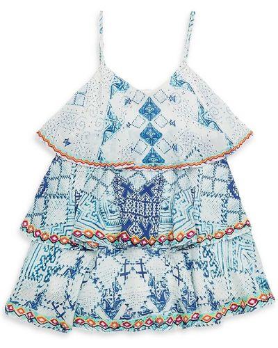 Синее платье с подкладкой без рукавов из вискозы Hemant And Nandita