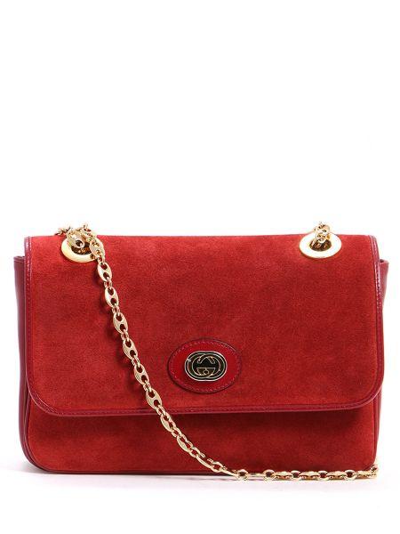 Красная сумка на цепочке на молнии прямоугольная с карманами Gucci