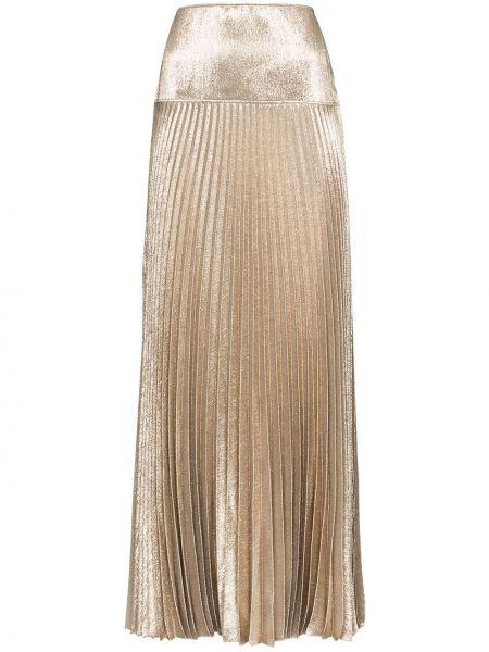 Желтая шелковая плиссированная юбка макси Chloé