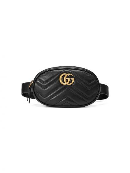 Черная поясная сумка с помпоном на молнии с карманами Gucci