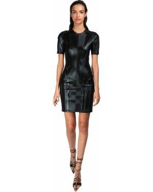 Платье мини мерцающее с кружевными рукавами Mugler