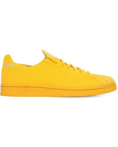 Koronkowa skórzany sneakersy złoto Adidas Originals