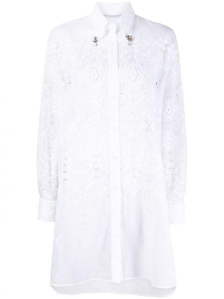 Белое платье макси с вышивкой с воротником Ermanno Scervino