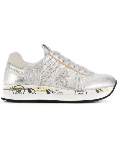 Кожаные кроссовки с логотипом на шнуровке Premiata