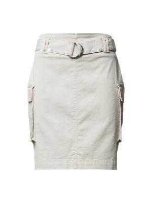 Beżowa spódnica mini z paskiem bawełniana Hugo