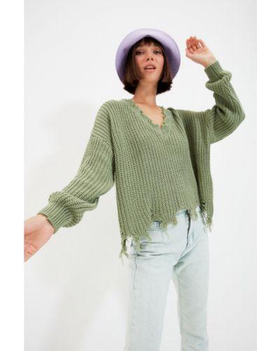 Sweter z akrylu - brązowy Trendyol