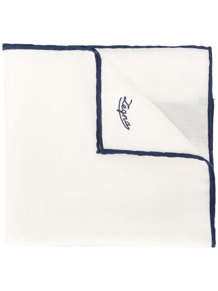 Платок белый с вышивкой Ermenegildo Zegna
