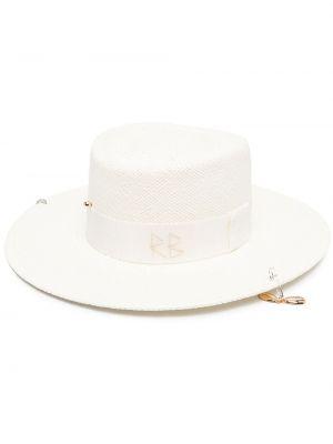 Хлопковые белые соломенные шляпа Ruslan Baginskiy