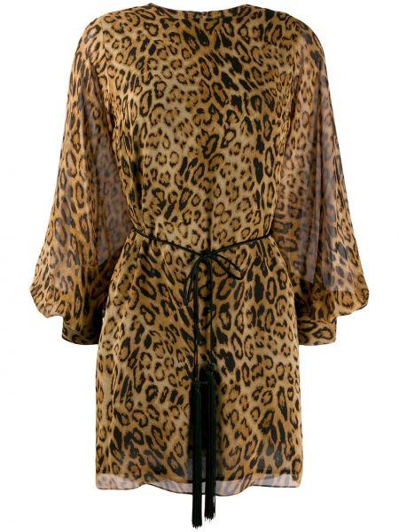 Платье с поясом с открытой спиной леопардовое Nili Lotan