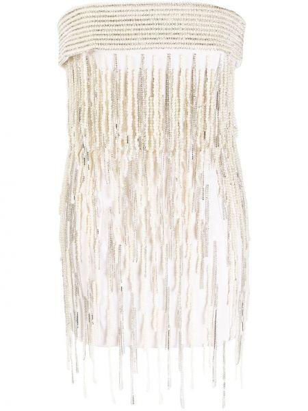 Szara sukienka mini wełniana perły Attico