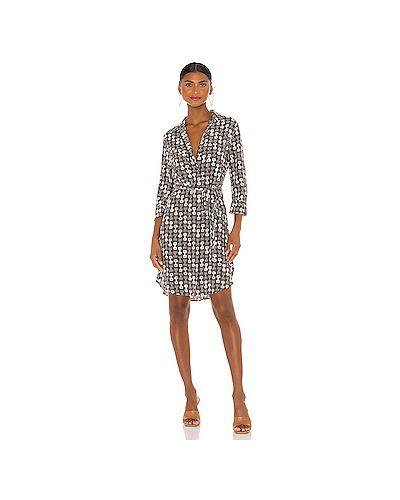 Шелковое платье на пуговицах с поясом L'agence