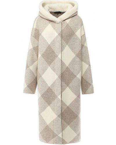 Пальто с капюшоном из овчины кожаное Loro Piana