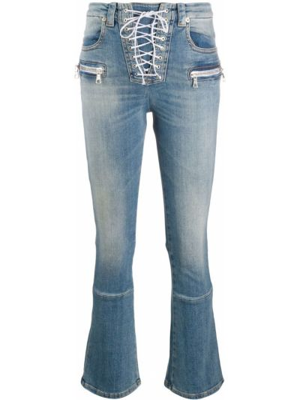 Хлопковые синие укороченные джинсы с низкой посадкой на шнуровке Unravel Project