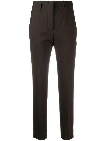 Шерстяные с завышенной талией коричневые укороченные брюки Incotex