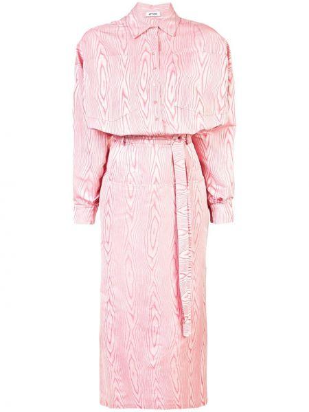 Платье с поясом розовое на пуговицах The Attico