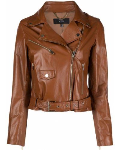 Коричневая кожаная куртка байкерская Arma