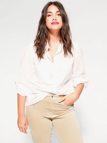 Блузка белая весенний Violeta By Mango