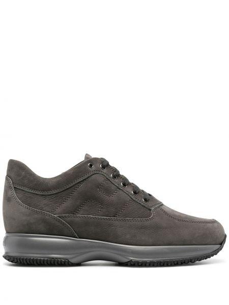 Кожаные кроссовки - серые Hogan