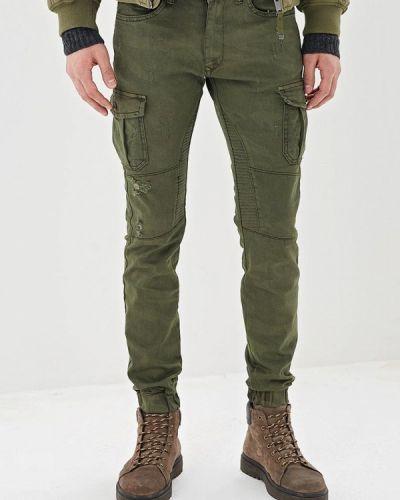 Зауженные брюки зеленый хаки Young & Rich