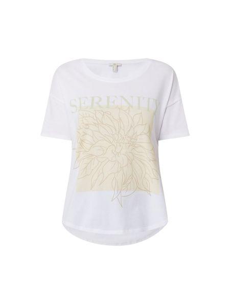 Biały t-shirt bawełniany z printem Edc By Esprit