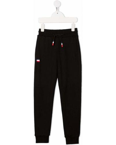 Хлопковые черные спортивные брюки с нашивками с накладными карманами Rossignol Kids