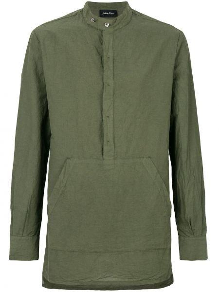 Зеленая льняная рубашка на кнопках с карманами Andrea Ya'aqov