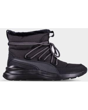 Черные текстильные спортивные зимние ботинки Puma