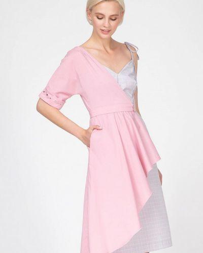 Однобортное розовое платье Ornato