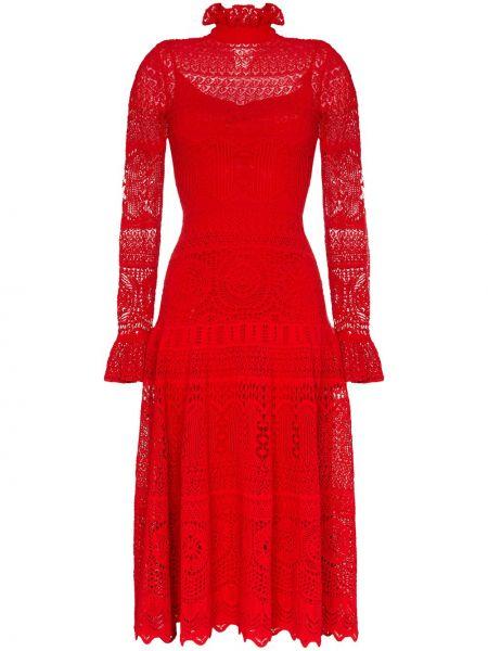 Платье миди красный с рукавами Alexander Mcqueen