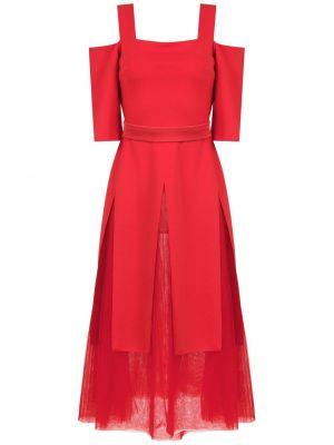 Красное платье из фатина с короткими рукавами Gloria Coelho