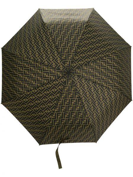 Zielony z paskiem parasol Fendi
