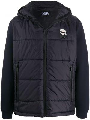 Klasyczny niebieski kurtka z kapturem z długimi rękawami z kieszeniami Karl Lagerfeld