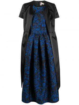 Шелковое платье миди - черное Comme Des Garçons