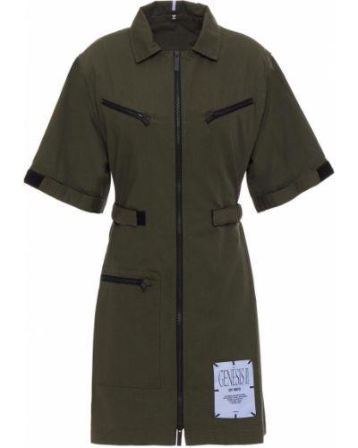 Хлопковое зеленое платье рубашка с заплатками Mcq Alexander Mcqueen