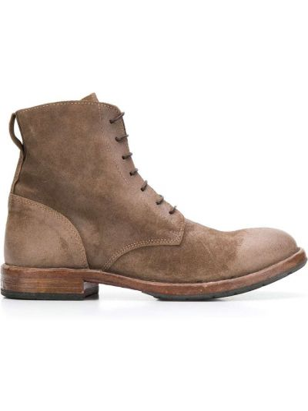 Buty skórzane brązowe zamsz Moma